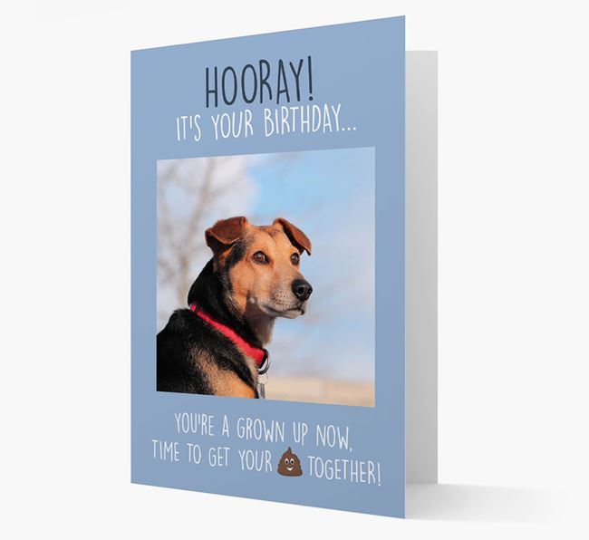 Photo Upload 'Hooray, it's your Happy Birthday' Card with you Flat-Coated Retriever Picture