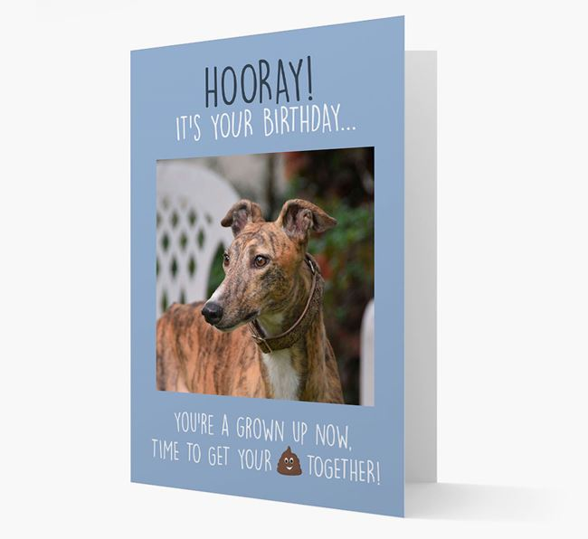 Photo Upload 'Hooray, it's your Happy Birthday' Card with you Greyhound Picture
