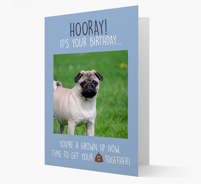 Photo Upload 'Hooray, it's your Happy Birthday' Card with you Pug Picture