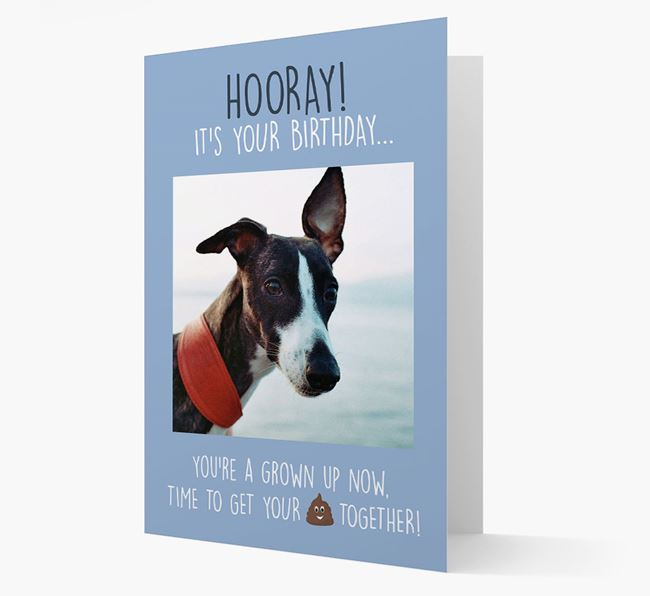 Photo Upload 'Hooray, it's your Happy Birthday' Card with you Whippet Picture