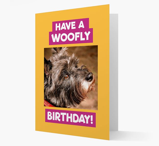 Photo Upload 'Have a Woofly Birthday' Card with your Cairn Terrier Picture