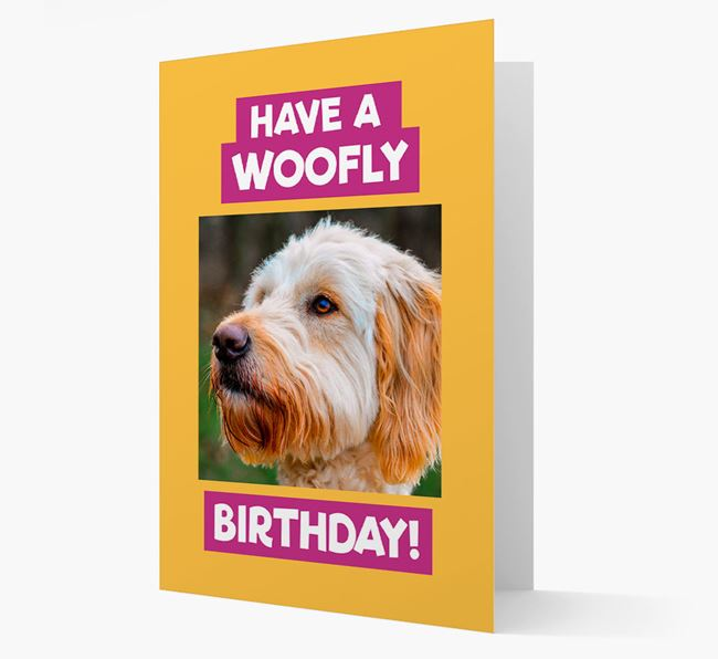 Photo Upload 'Have a Woofly Birthday' Card with your Goldendoodle Picture