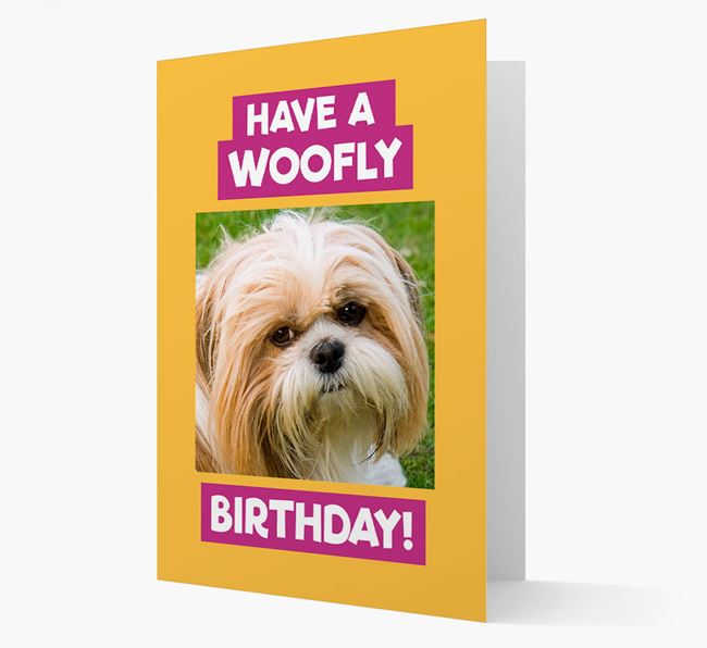 Photo Upload 'Have a Woofly Birthday' Card with your Shih Tzu Picture