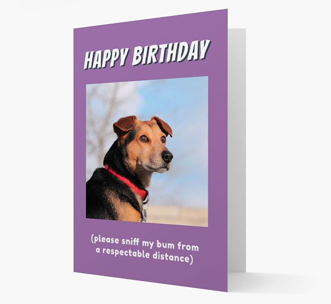 Photo Upload 'Happy Birthday' Card with your Bedlington Terrier Picture