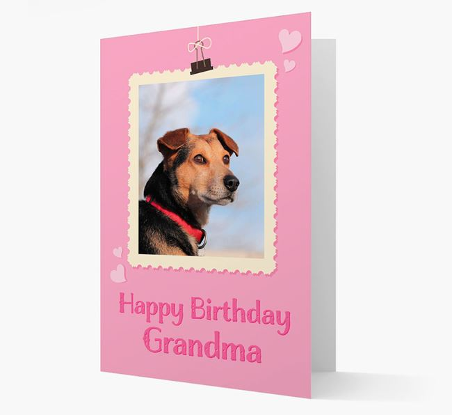 Photo Upload 'Happy Birthday, Grandma' Card with your Bearded Collie Picture