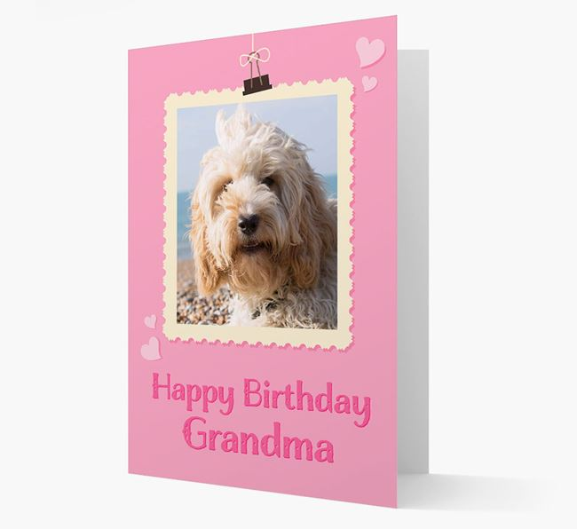 Photo Upload 'Happy Birthday, Grandma' Card with your Cockapoo Picture