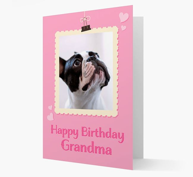 Photo Upload 'Happy Birthday, Grandma' Card with your French Bulldog Picture