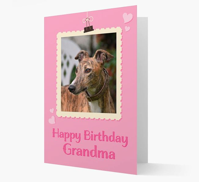 Photo Upload 'Happy Birthday, Grandma' Card with your Greyhound Picture