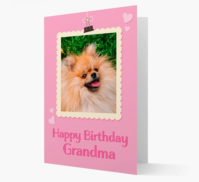Photo Upload 'Happy Birthday, Grandma' Card with your Pomeranian Picture