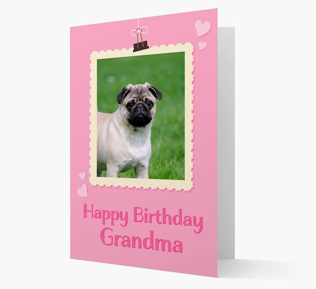 Photo Upload 'Happy Birthday, Grandma' Card with your Pug Picture