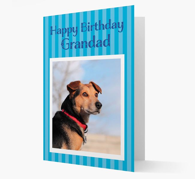Photo Upload 'Happy Birthday, Grandad' Card with your Bedlington Terrier Picture
