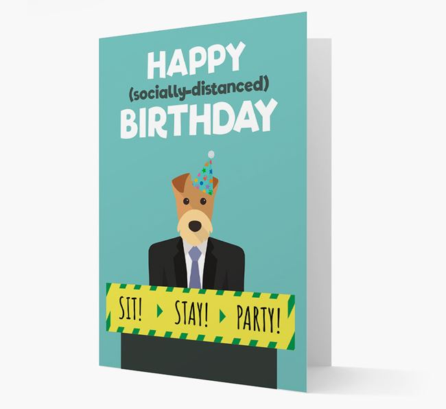'Happy Socially Distanced Birthday' Card with Airedale Terrier Icon