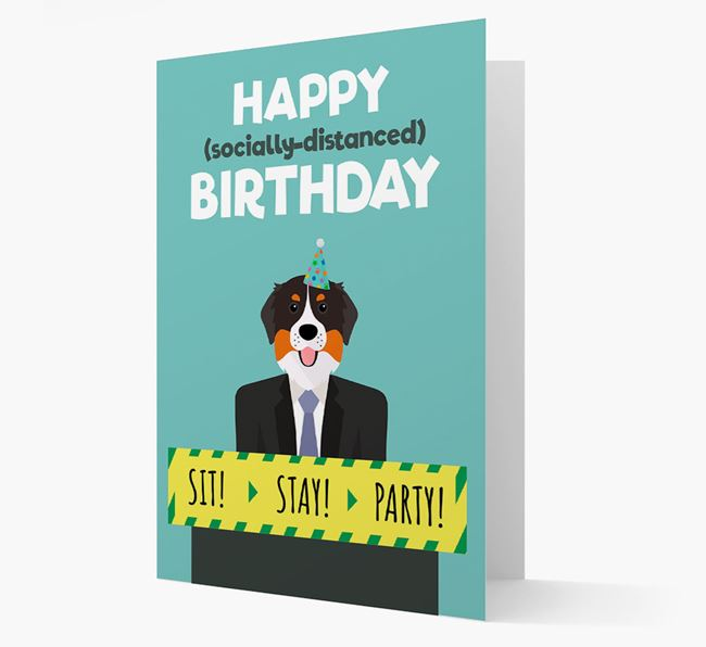 'Happy Socially Distanced Birthday' Card with Bernese Mountain Dog Icon
