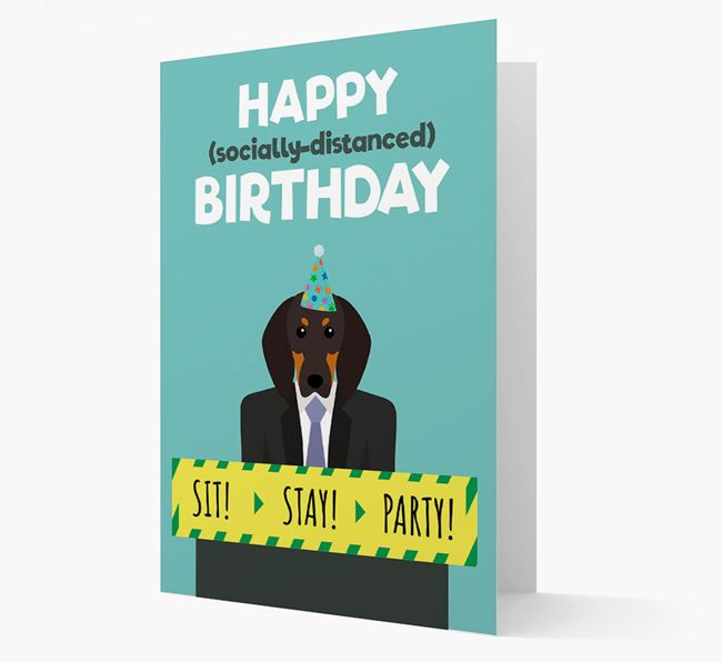 'Happy Socially Distanced Birthday' Card with Black and Tan Coonhound Icon