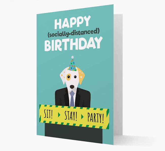 'Happy Socially Distanced Birthday' Card with Dalmatian Icon