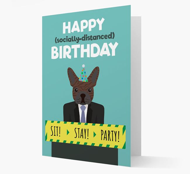 'Happy Socially Distanced Birthday' Card with French Bulldog Icon