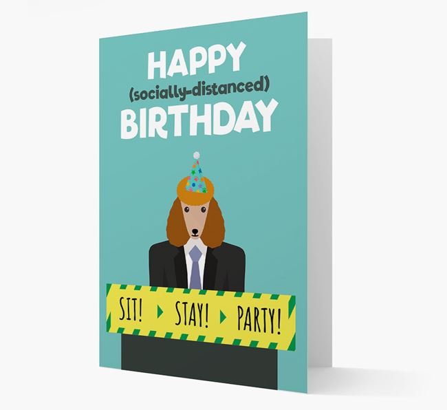 'Happy Socially Distanced Birthday' Card with Poodle Icon