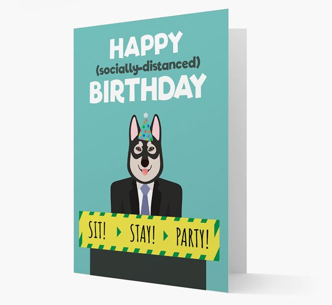 'Happy Socially Distanced Birthday' Card with Tamaskan Icon