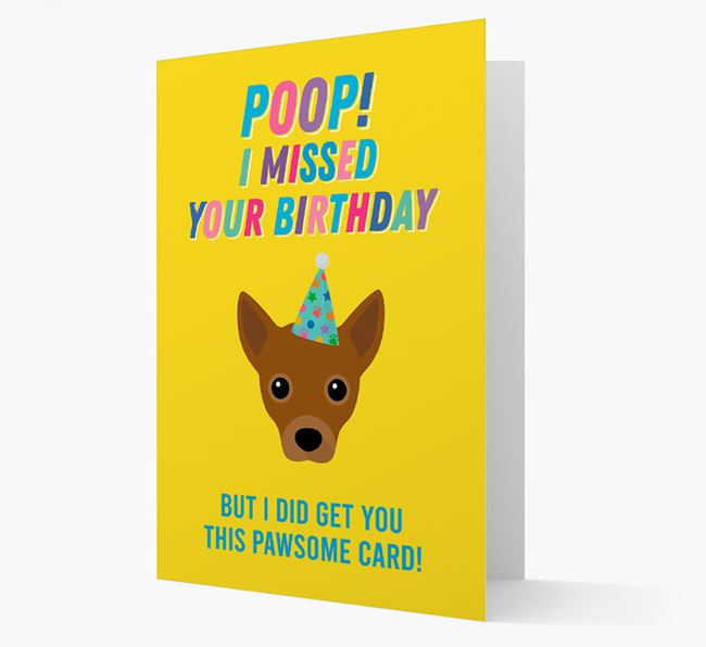 'Poop, I missed your Birthday' Card with Jackahuahua Icon
