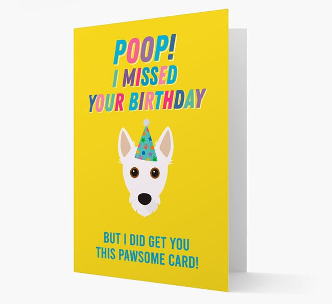 'Poop, I missed your Birthday' Card with Jack Russell Terrier Icon