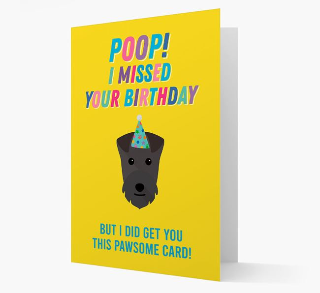 'Poop, I missed your Birthday' Card with Lakeland Terrier Icon
