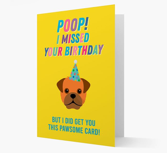 'Poop, I missed your Birthday' Card with Mixed Breed Icon