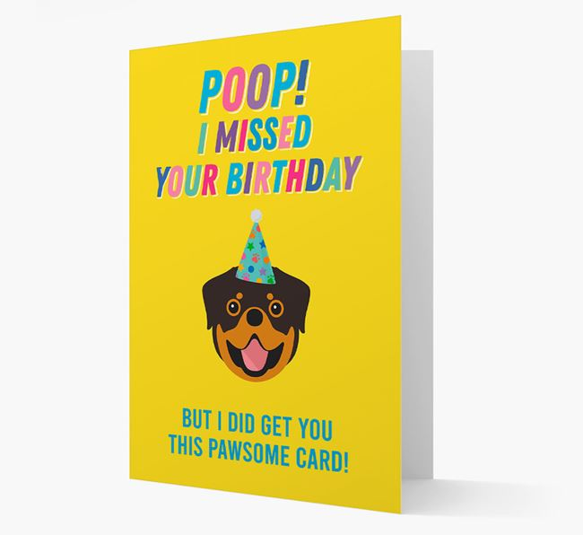 'Poop, I missed your Birthday' Card with Dog Icon
