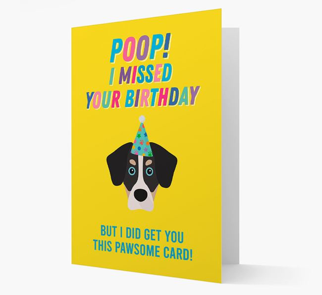 'Poop, I missed your Birthday' Card with Siberian Cocker Icon