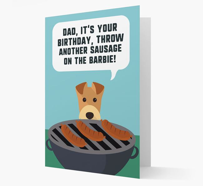 'Dad's Birthday Barbie' Card with Airedale Terrier Icon