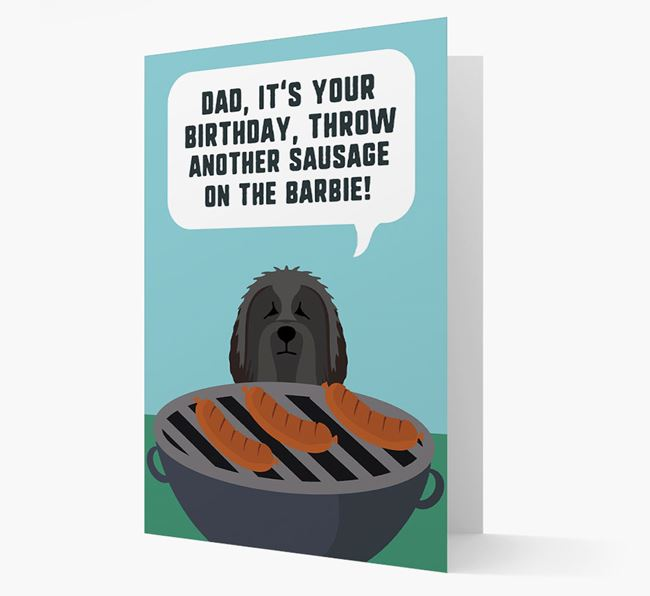 'Dad's Birthday Barbie' Card with Bearded Collie Icon