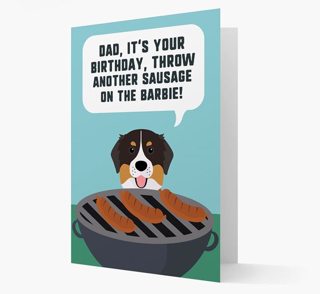 'Dad's Birthday Barbie' Card with Bernese Mountain Dog Icon