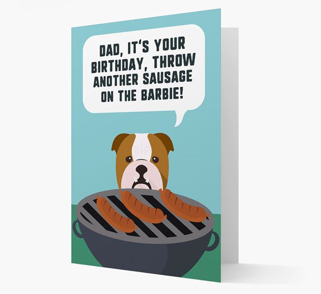 'Dad's Birthday Barbie' Card with English Bulldog Icon
