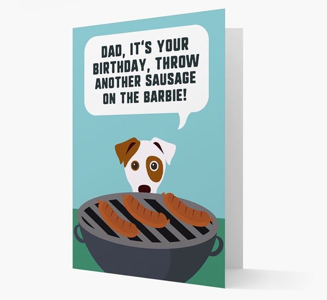 'Dad's Birthday Barbie' Card with Dog Icon