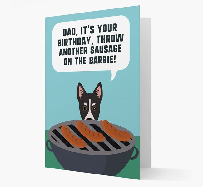 'Dad's Birthday Barbie' Card with Siberian Cocker Icon