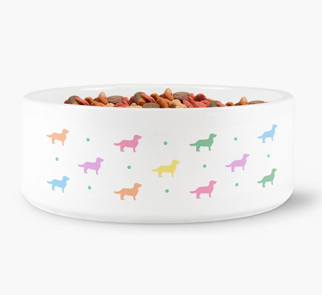 Dameranian Silhouettes Dog Bowl