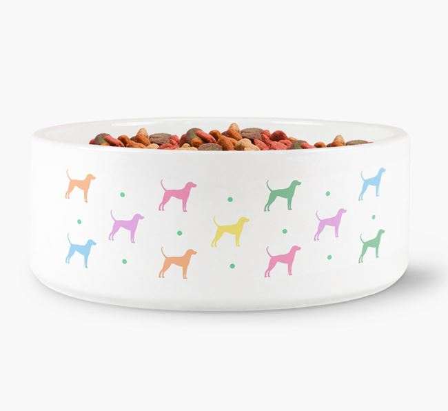 English Coonhound Silhouettes Dog Bowl