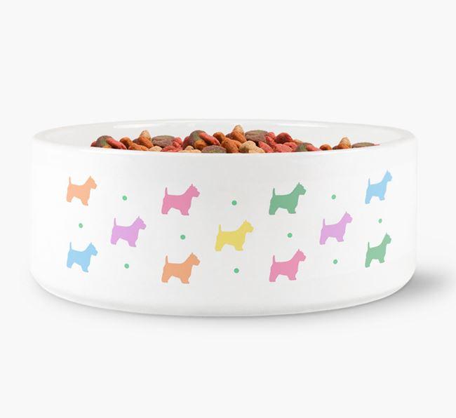 Westie Silhouettes Dog Bowl