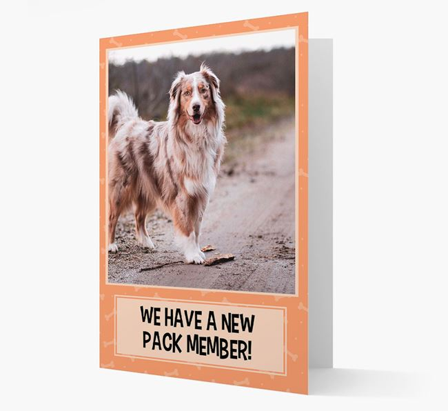 Photo Upload 'We have a new pack member' Card with Australian Shepherd Picture