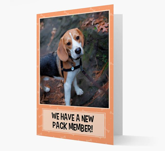 Photo Upload 'We have a new pack member' Card with Beagle Picture