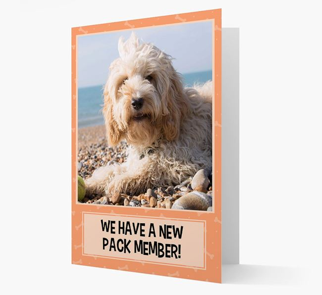 Photo Upload 'We have a new pack member' Card with Cockapoo Picture