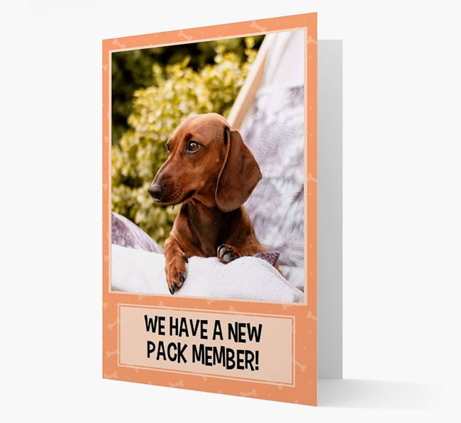 Photo Upload 'We have a new pack member' Card with Dachshund Picture