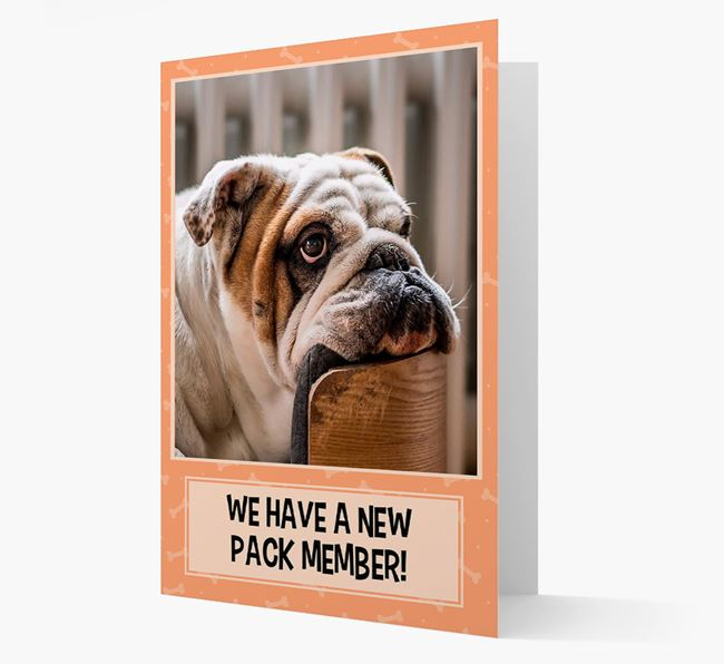 Photo Upload 'We have a new pack member' Card with English Bulldog Picture