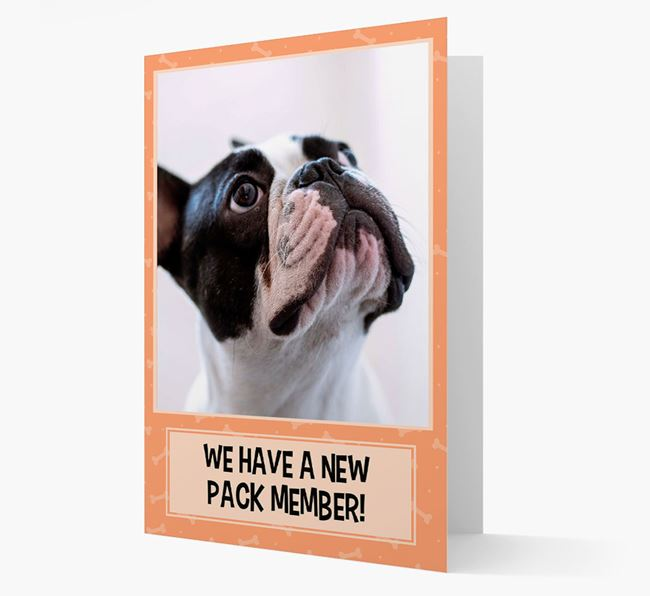 Photo Upload 'We have a new pack member' Card with French Bulldog Picture
