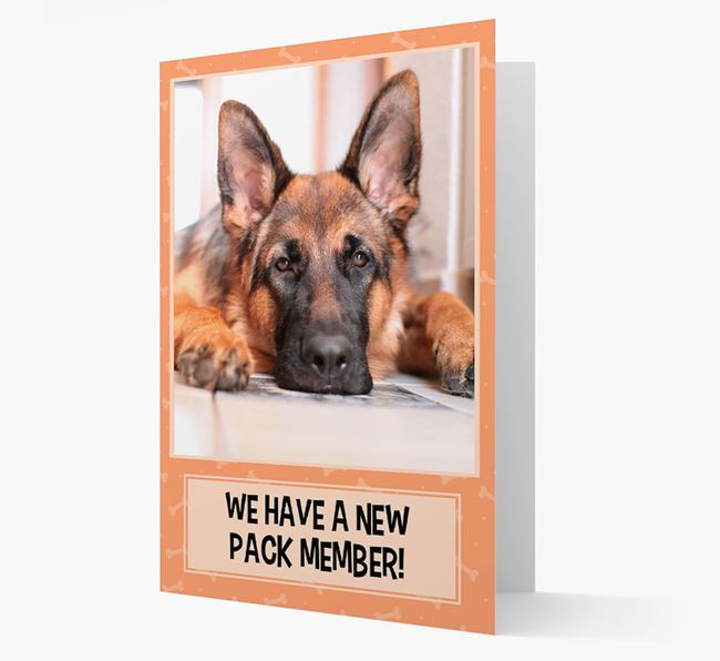 Photo Upload 'We have a new pack member' Card with German Shepherd Picture