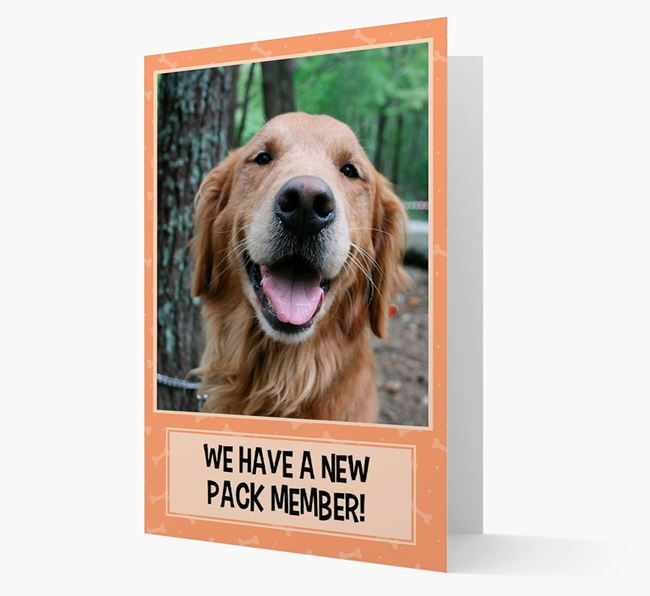 Photo Upload 'We have a new pack member' Card with Golden Retriever Picture
