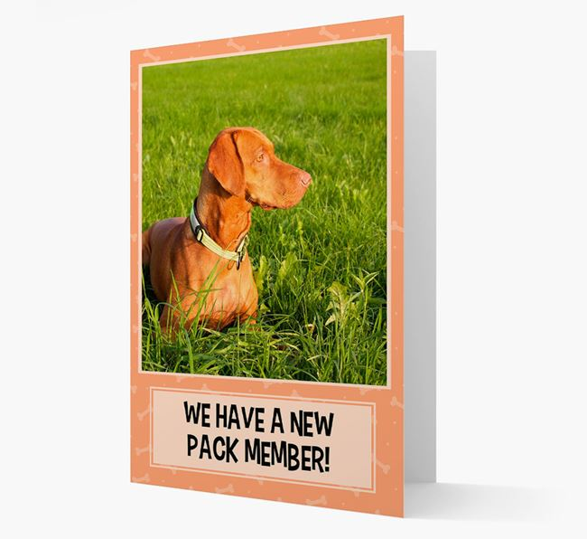 Photo Upload 'We have a new pack member' Card with Dog Picture