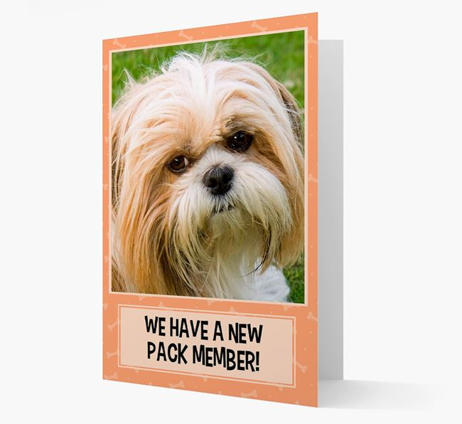 Photo Upload 'We have a new pack member' Card with Shih Tzu Picture