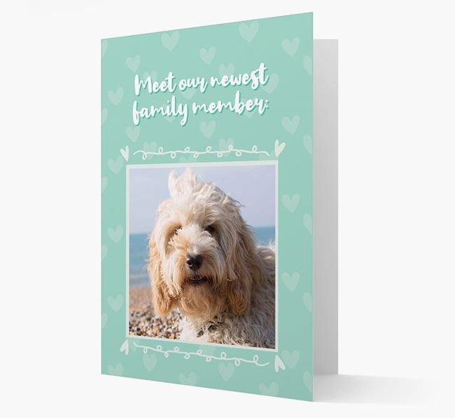 Photo Upload 'Meet our newest family member' Card with you Cockapoo Picture