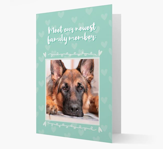 Photo Upload 'Meet our newest family member' Card with you German Shepherd Picture