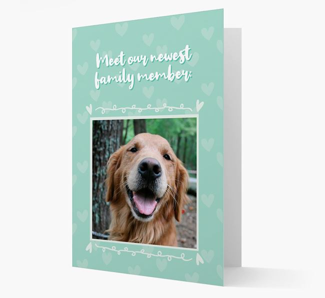 Photo Upload 'Meet our newest family member' Card with you Golden Retriever Picture